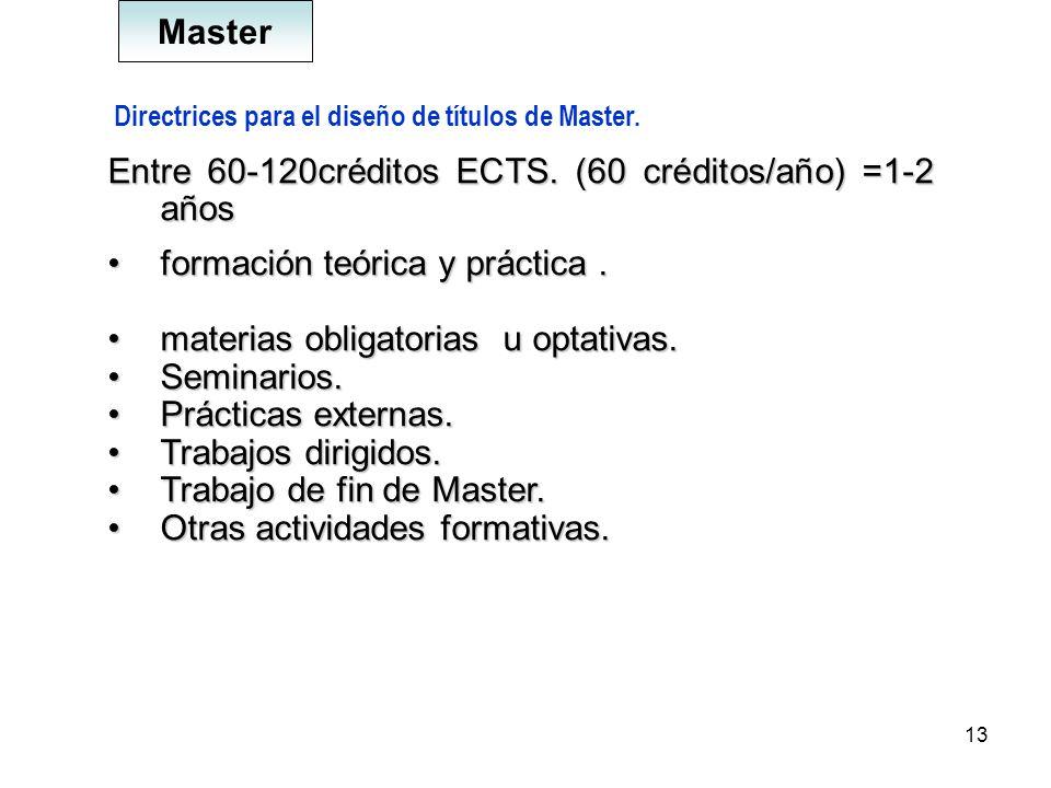 13 Directrices para el diseño de títulos de Master. Entre 60-120créditos ECTS. (60 créditos/año) =1-2 años formación teórica y práctica.formación teór