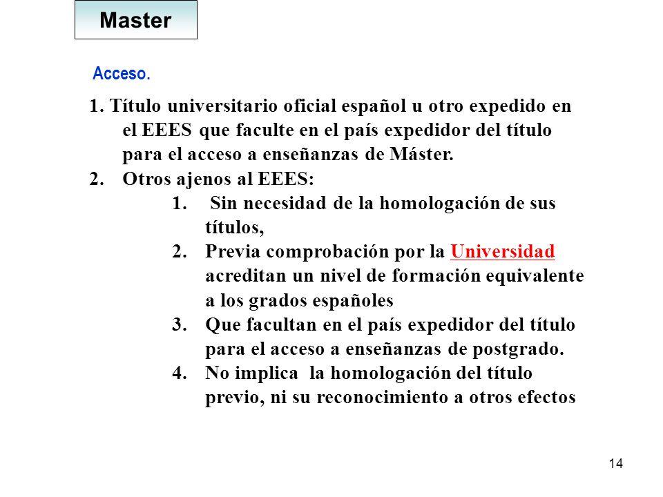 14 Acceso. 1. Título universitario oficial español u otro expedido en el EEES que faculte en el país expedidor del título para el acceso a enseñanzas