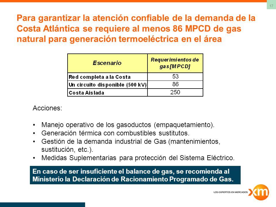 17 Para garantizar la atención confiable de la demanda de la Costa Atlántica se requiere al menos 86 MPCD de gas natural para generación termoeléctrica en el área Acciones: Manejo operativo de los gasoductos (empaquetamiento).