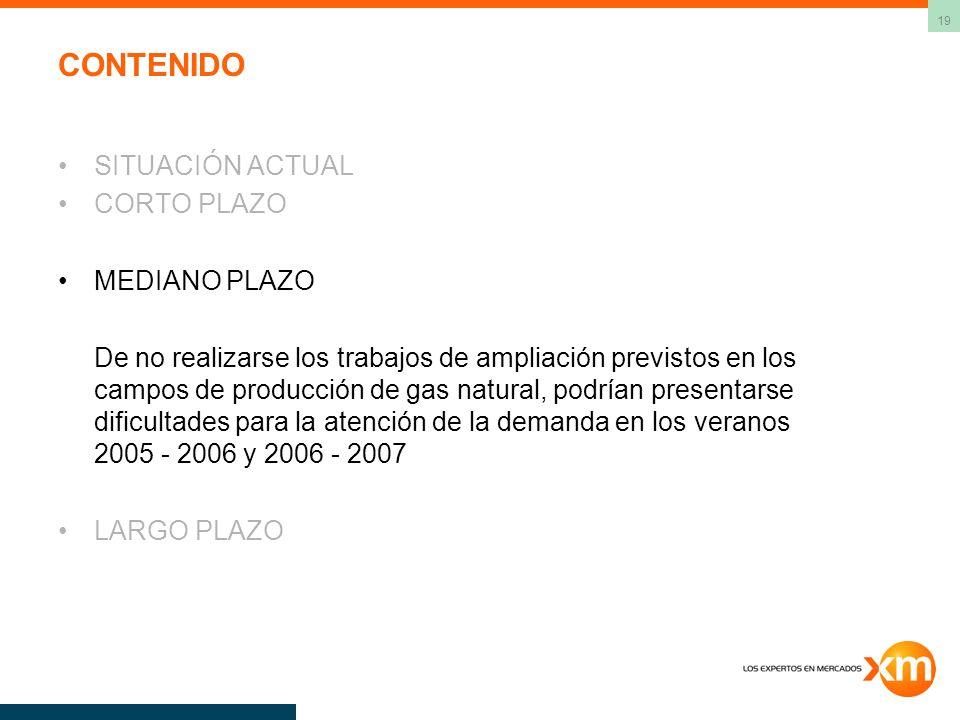 19 CONTENIDO SITUACIÓN ACTUAL CORTO PLAZO MEDIANO PLAZO De no realizarse los trabajos de ampliación previstos en los campos de producción de gas natural, podrían presentarse dificultades para la atención de la demanda en los veranos 2005 - 2006 y 2006 - 2007 LARGO PLAZO