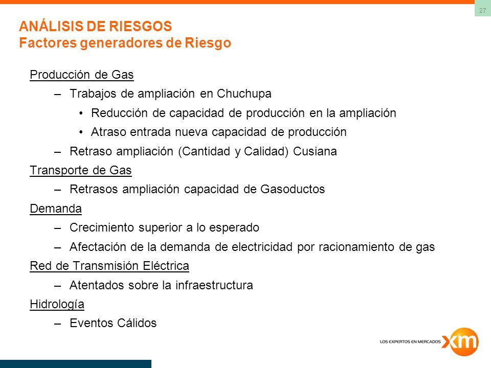 27 ANÁLISIS DE RIESGOS Factores generadores de Riesgo Producción de Gas –Trabajos de ampliación en Chuchupa Reducción de capacidad de producción en la