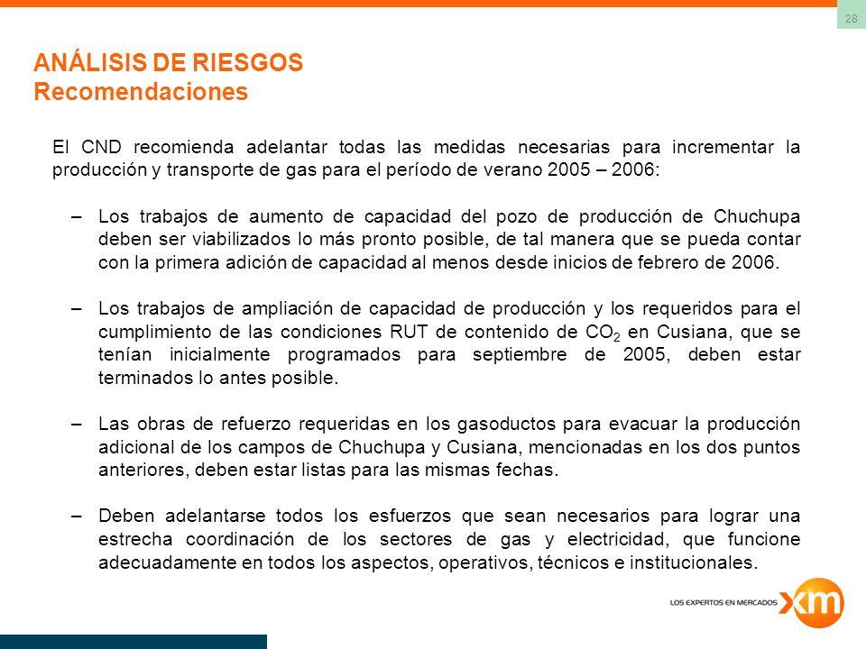28 ANÁLISIS DE RIESGOS Recomendaciones El CND recomienda adelantar todas las medidas necesarias para incrementar la producción y transporte de gas para el período de verano 2005 – 2006: –Los trabajos de aumento de capacidad del pozo de producción de Chuchupa deben ser viabilizados lo más pronto posible, de tal manera que se pueda contar con la primera adición de capacidad al menos desde inicios de febrero de 2006.