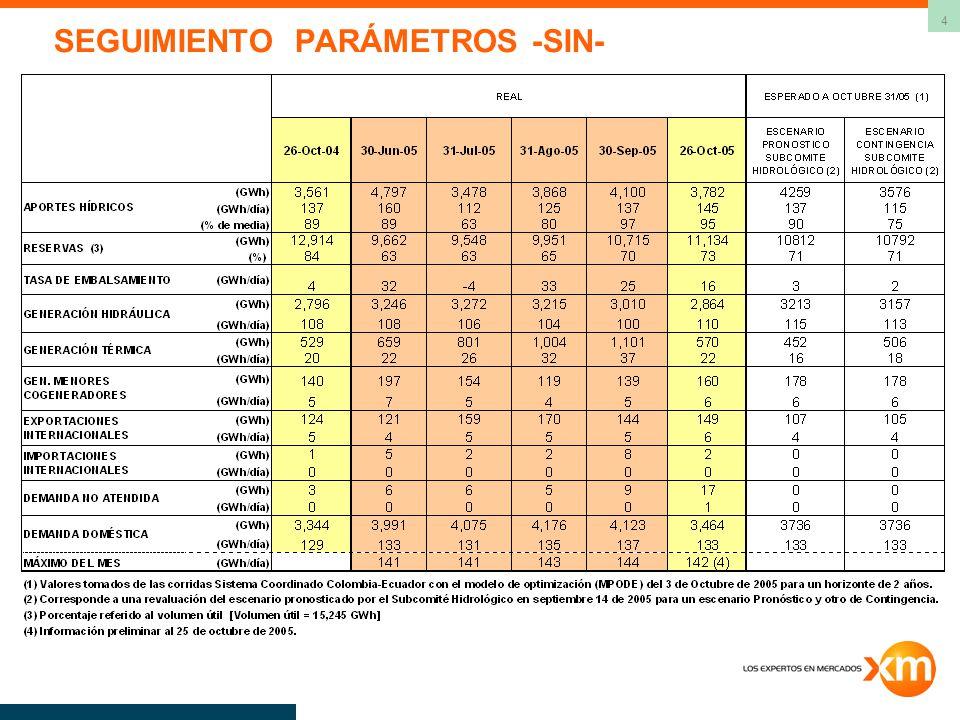 4 SEGUIMIENTO PARÁMETROS -SIN-