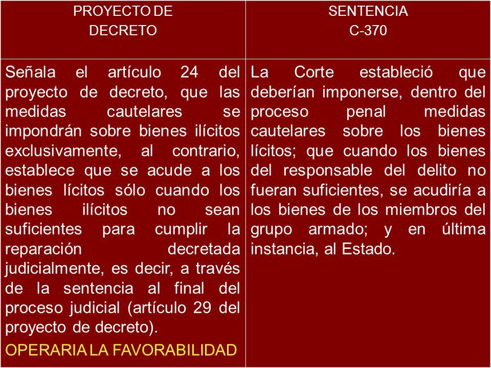 PROYECTO DE DECRETO SENTENCIA C-370 Señala el artículo 24 del proyecto de decreto, que las medidas cautelares se impondrán sobre bienes ilícitos exclu