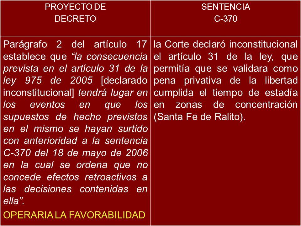 PROYECTO DE DECRETO SENTENCIA C-370 Parágrafo 2 del artículo 17 establece que la consecuencia prevista en el artículo 31 de la ley 975 de 2005 [declarado inconstitucional] tendrá lugar en los eventos en que los supuestos de hecho previstos en el mismo se hayan surtido con anterioridad a la sentencia C-370 del 18 de mayo de 2006 en la cual se ordena que no concede efectos retroactivos a las decisiones contenidas en ella.