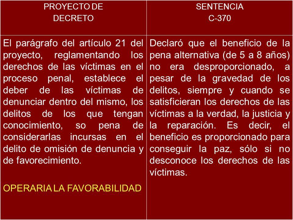 PROYECTO DE DECRETO SENTENCIA C-370 El parágrafo del artículo 21 del proyecto, reglamentando los derechos de las víctimas en el proceso penal, establece el deber de las víctimas de denunciar dentro del mismo, los delitos de los que tengan conocimiento, so pena de considerarlas incursas en el delito de omisión de denuncia y de favorecimiento.
