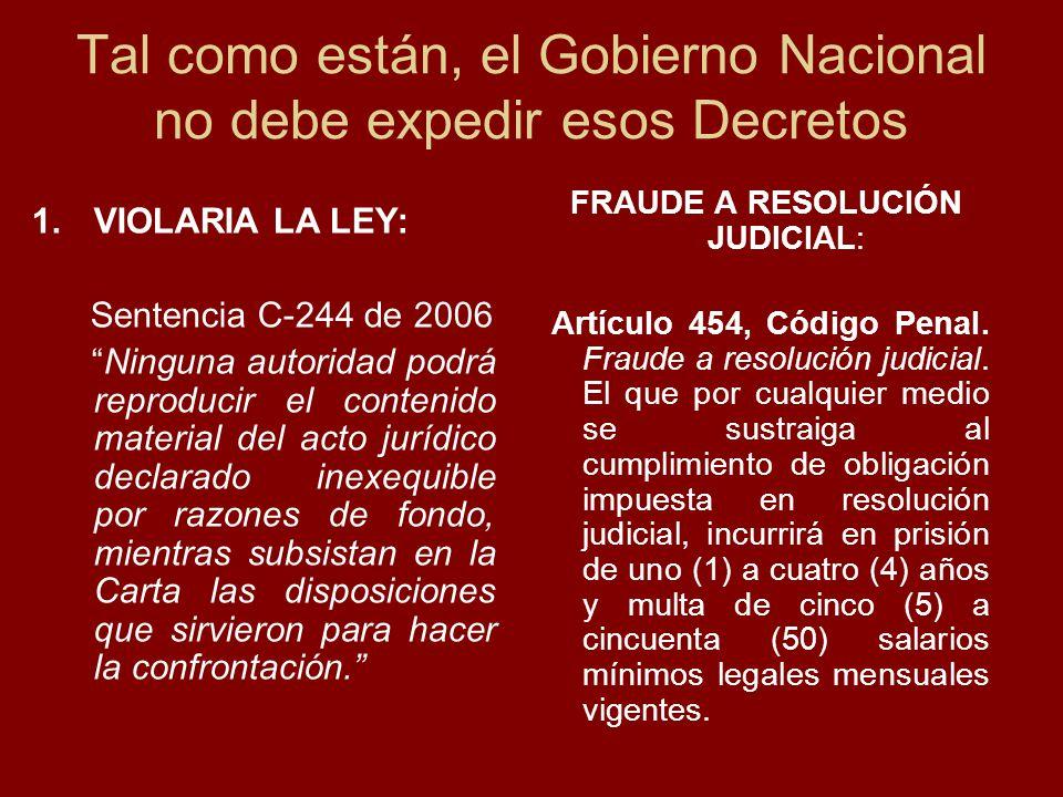 1.VIOLARIA LA LEY: Sentencia C-244 de 2006 Ninguna autoridad podrá reproducir el contenido material del acto jurídico declarado inexequible por razones de fondo, mientras subsistan en la Carta las disposiciones que sirvieron para hacer la confrontación.