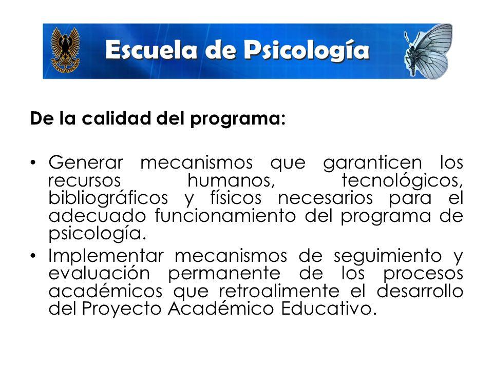 De la calidad del programa: Generar mecanismos que garanticen los recursos humanos, tecnológicos, bibliográficos y físicos necesarios para el adecuado funcionamiento del programa de psicología.