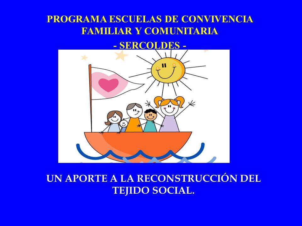 UN APORTE A LA RECONSTRUCCIÓN DEL TEJIDO SOCIAL. PROGRAMA ESCUELAS DE CONVIVENCIA FAMILIAR Y COMUNITARIA - SERCOLDES -