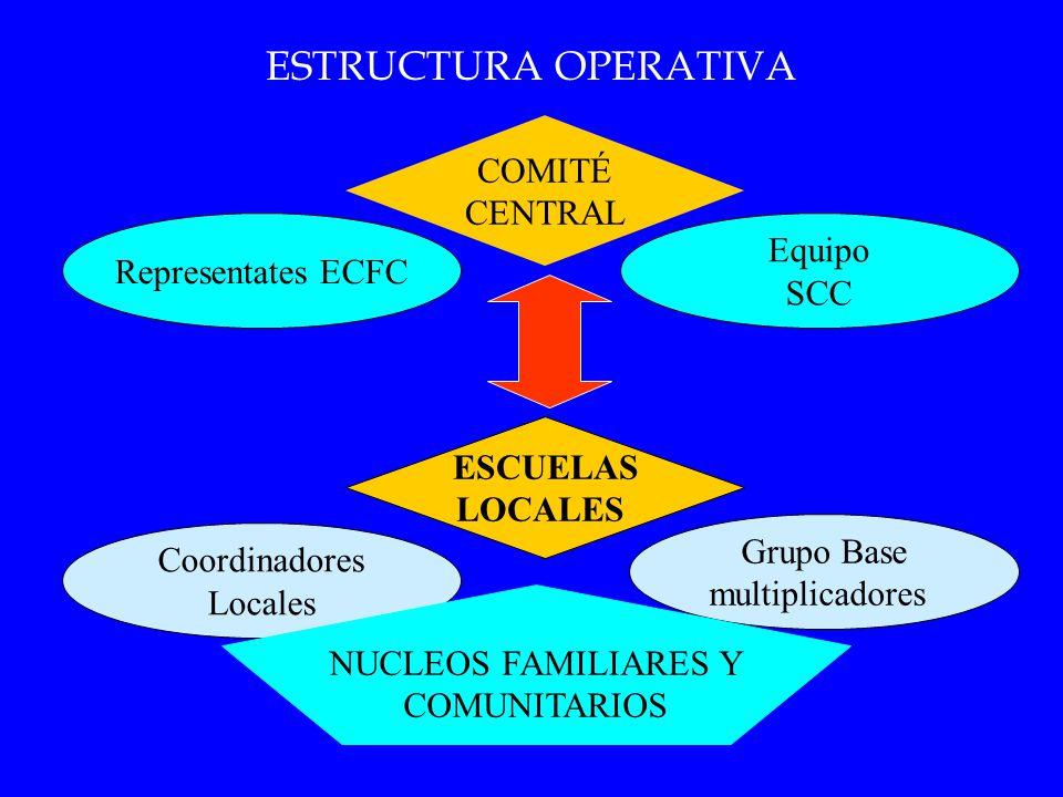 ESTRUCTURA OPERATIVA COMITÉ CENTRAL ESCUELAS LOCALES Coordinadores Locales Grupo Base multiplicadores Representates ECFC Equipo SCC NUCLEOS FAMILIARES