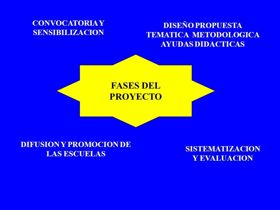 CONVOCATORIA Y SENSIBILIZACION DISEÑO PROPUESTA TEMATICA METODOLOGICA AYUDAS DIDACTICAS DIFUSION Y PROMOCION DE LAS ESCUELAS SISTEMATIZACION Y EVALUAC