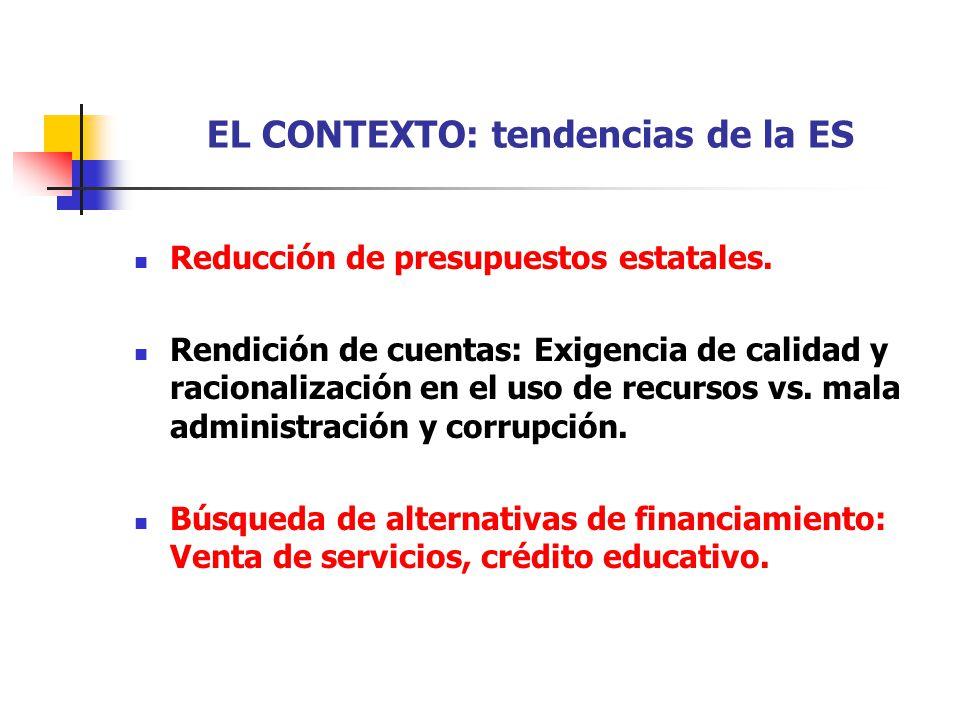 EL CONTEXTO: tendencias de la ES Reducción de presupuestos estatales. Rendición de cuentas: Exigencia de calidad y racionalización en el uso de recurs
