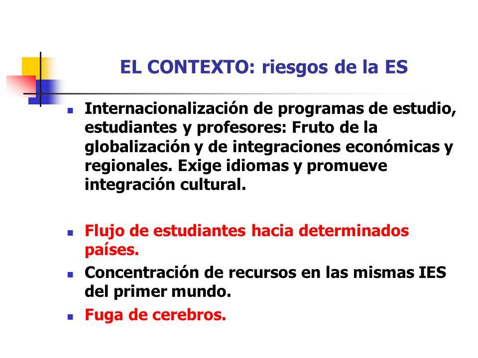 EL CONTEXTO: riesgos de la ES Internacionalización de programas de estudio, estudiantes y profesores: Fruto de la globalización y de integraciones eco