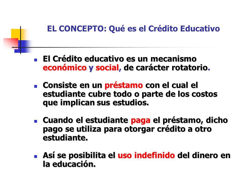 EL CONCEPTO: Qué es el Crédito Educativo El Crédito educativo es un mecanismo económico y social, de carácter rotatorio. El Crédito educativo es un me