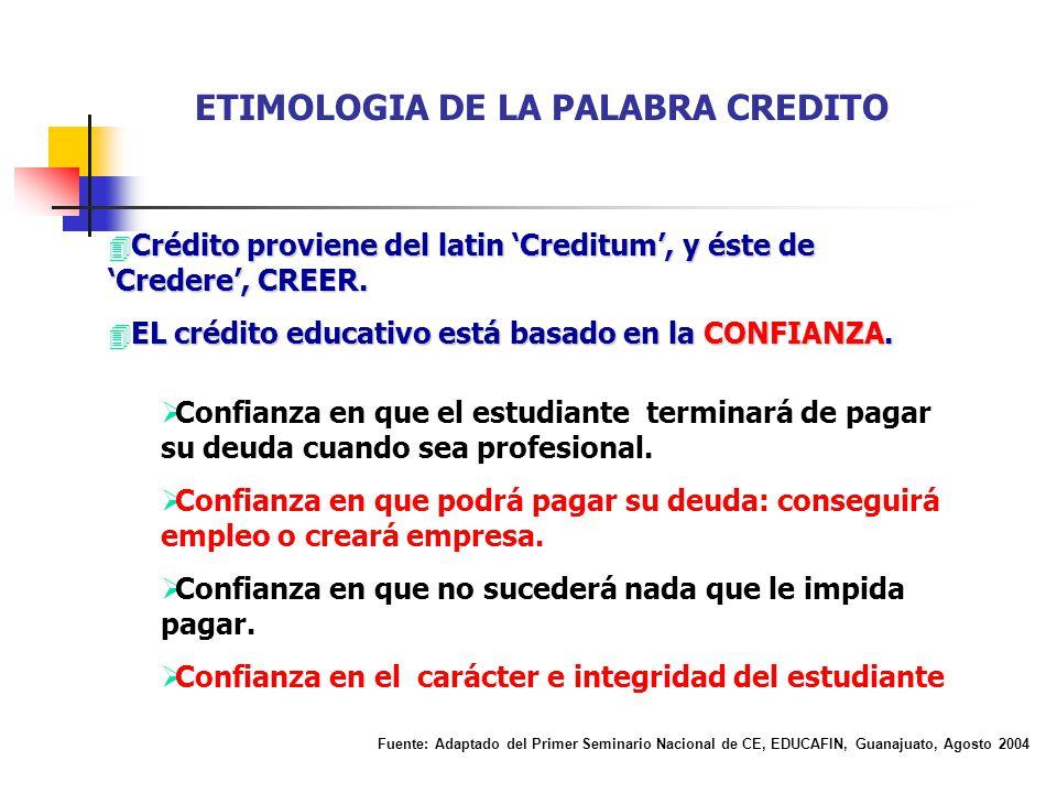4 Crédito proviene del latin Creditum, y éste de Credere, CREER. 4 EL crédito educativo está basado en la CONFIANZA. Confianza en que el estudiante te