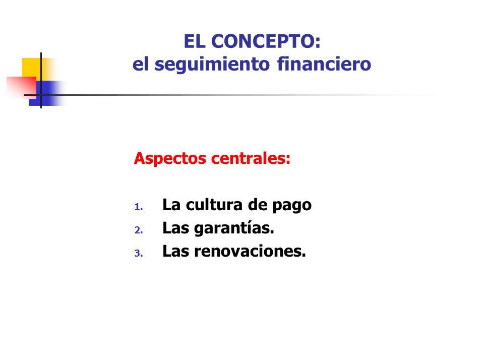 EL CONCEPTO: el seguimiento financiero Aspectos centrales: 1. La cultura de pago 2. Las garantías. 3. Las renovaciones.