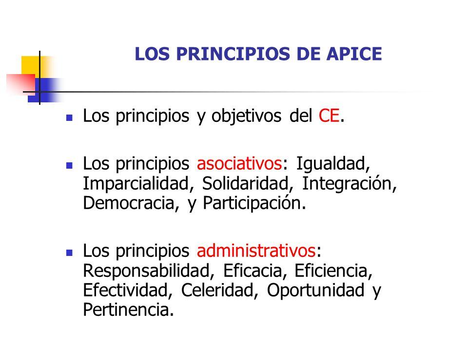 LOS PRINCIPIOS DE APICE Los principios y objetivos del CE. Los principios asociativos: Igualdad, Imparcialidad, Solidaridad, Integración, Democracia,