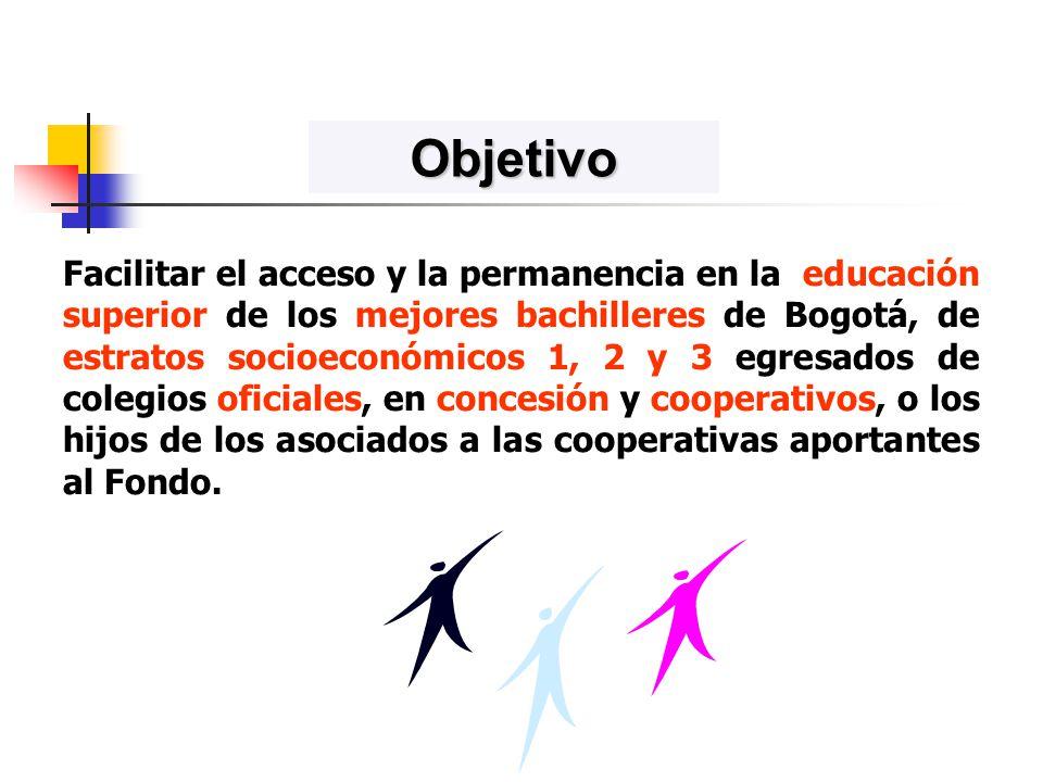 Facilitar el acceso y la permanencia en la educación superior de los mejores bachilleres de Bogotá, de estratos socioeconómicos 1, 2 y 3 egresados de