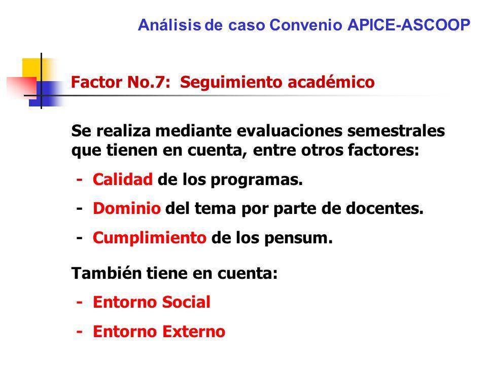 Análisis de caso Convenio APICE-ASCOOP Factor No.7: Seguimiento académico Se realiza mediante evaluaciones semestrales que tienen en cuenta, entre otr