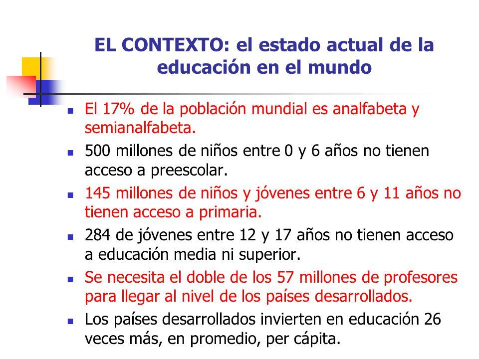 EL CONTEXTO: el estado actual de la educación en el mundo El 17% de la población mundial es analfabeta y semianalfabeta. 500 millones de niños entre 0