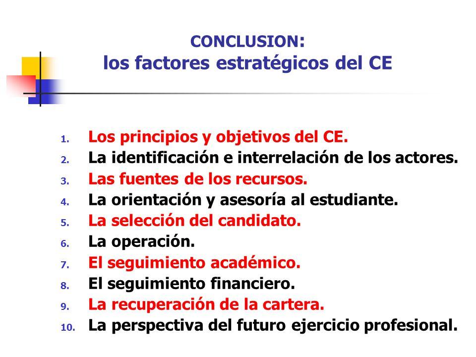 CONCLUSION : los factores estratégicos del CE 1. Los principios y objetivos del CE. 2. La identificación e interrelación de los actores. 3. Las fuente