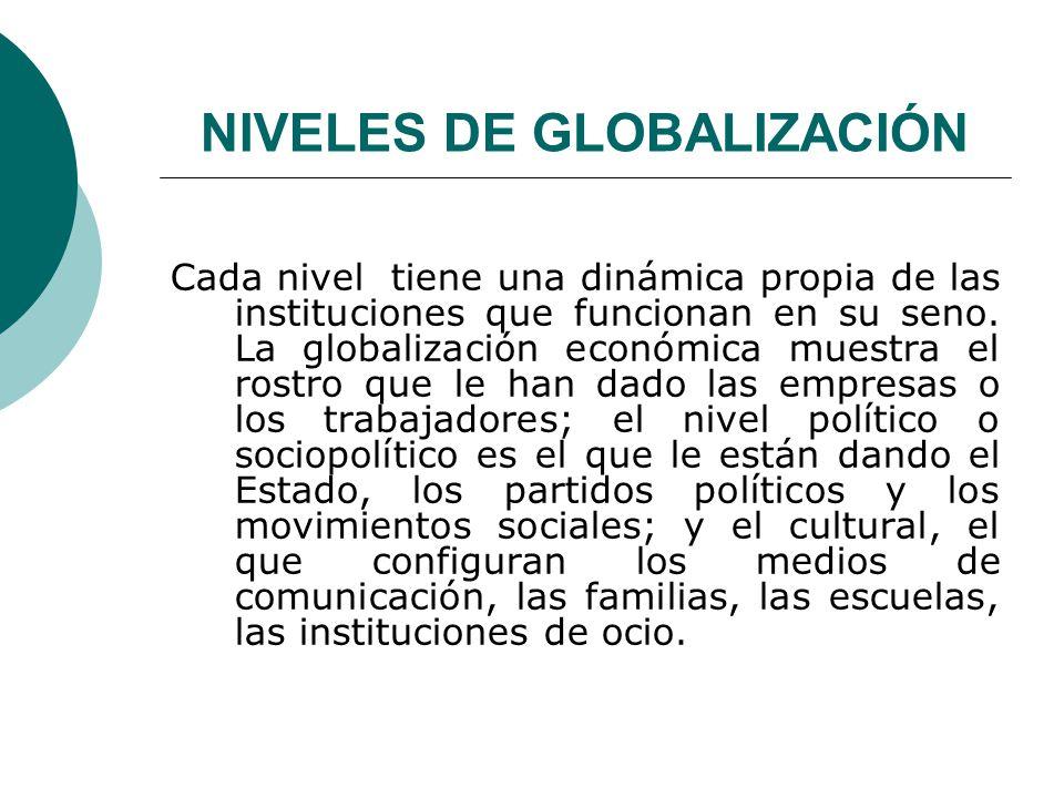 NIVELES DE GLOBALIZACIÓN Cada nivel tiene una dinámica propia de las instituciones que funcionan en su seno. La globalización económica muestra el ros