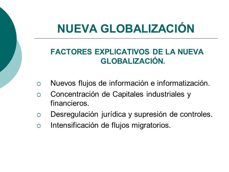 NUEVA GLOBALIZACIÓN FACTORES EXPLICATIVOS DE LA NUEVA GLOBALIZACIÓN. Nuevos flujos de información e informatización. Concentración de Capitales indust