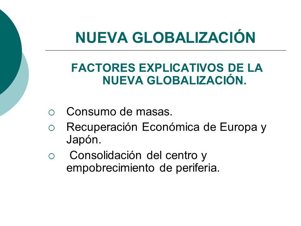 NUEVA GLOBALIZACIÓN FACTORES EXPLICATIVOS DE LA NUEVA GLOBALIZACIÓN. Consumo de masas. Recuperación Económica de Europa y Japón. Consolidación del cen