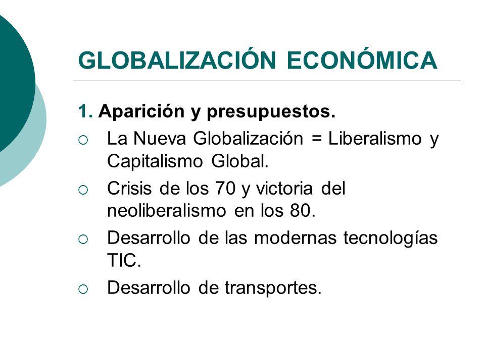 GLOBALIZACIÓN ECONÓMICA 1. Aparición y presupuestos. La Nueva Globalización = Liberalismo y Capitalismo Global. Crisis de los 70 y victoria del neolib