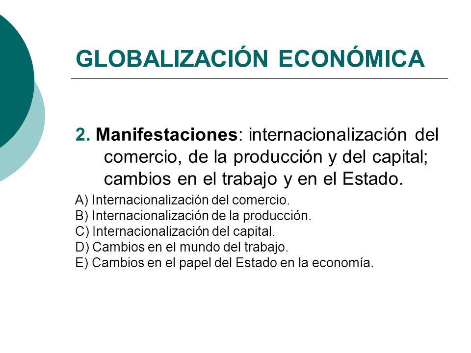 GLOBALIZACIÓN ECONÓMICA 2. Manifestaciones: internacionalización del comercio, de la producción y del capital; cambios en el trabajo y en el Estado. A