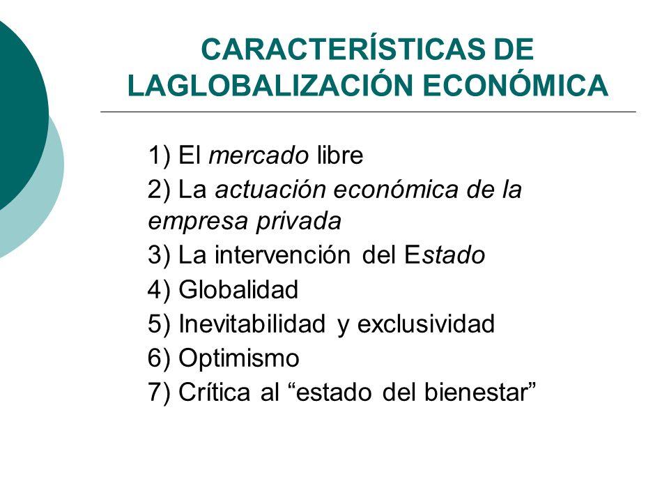 CARACTERÍSTICAS DE LAGLOBALIZACIÓN ECONÓMICA 1) El mercado libre 2) La actuación económica de la empresa privada 3) La intervención del Estado 4) Glob