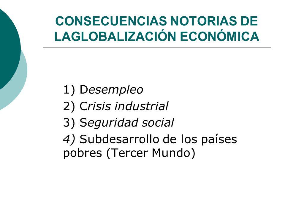 CONSECUENCIAS NOTORIAS DE LAGLOBALIZACIÓN ECONÓMICA 1) Desempleo 2) Crisis industrial 3) Seguridad social 4) Subdesarrollo de los países pobres (Terce