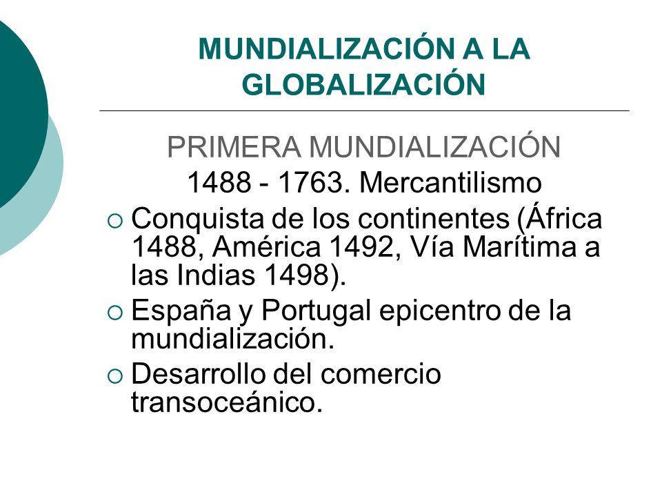MUNDIALIZACIÓN A LA GLOBALIZACIÓN PRIMERA MUNDIALIZACIÓN 1488 - 1763. Mercantilismo Conquista de los continentes (África 1488, América 1492, Vía Marít