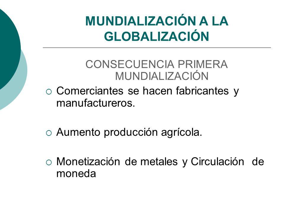 MUNDIALIZACIÓN A LA GLOBALIZACIÓN CONSECUENCIA PRIMERA MUNDIALIZACIÓN Comerciantes se hacen fabricantes y manufactureros. Aumento producción agrícola.