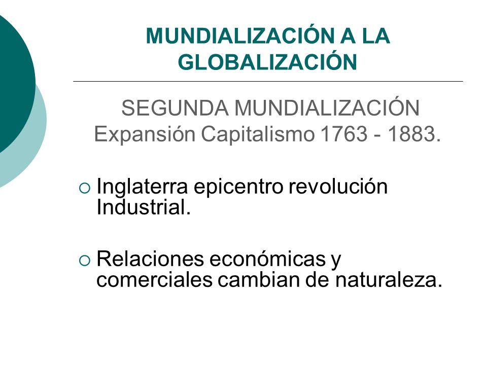 MUNDIALIZACIÓN A LA GLOBALIZACIÓN SEGUNDA MUNDIALIZACIÓN Expansión Capitalismo 1763 - 1883. Inglaterra epicentro revolución Industrial. Relaciones eco