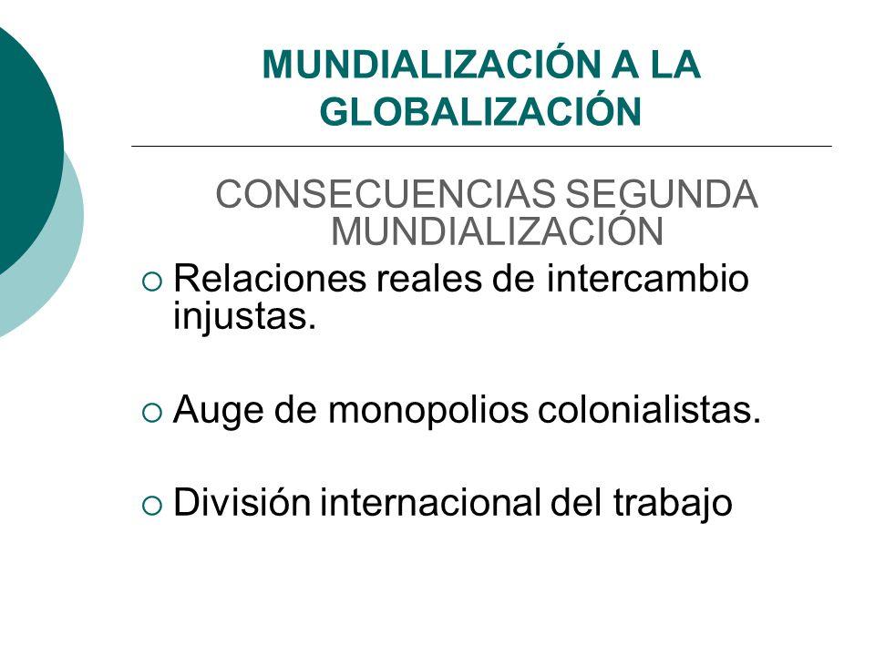 MUNDIALIZACIÓN A LA GLOBALIZACIÓN CONSECUENCIAS SEGUNDA MUNDIALIZACIÓN Relaciones reales de intercambio injustas. Auge de monopolios colonialistas. Di