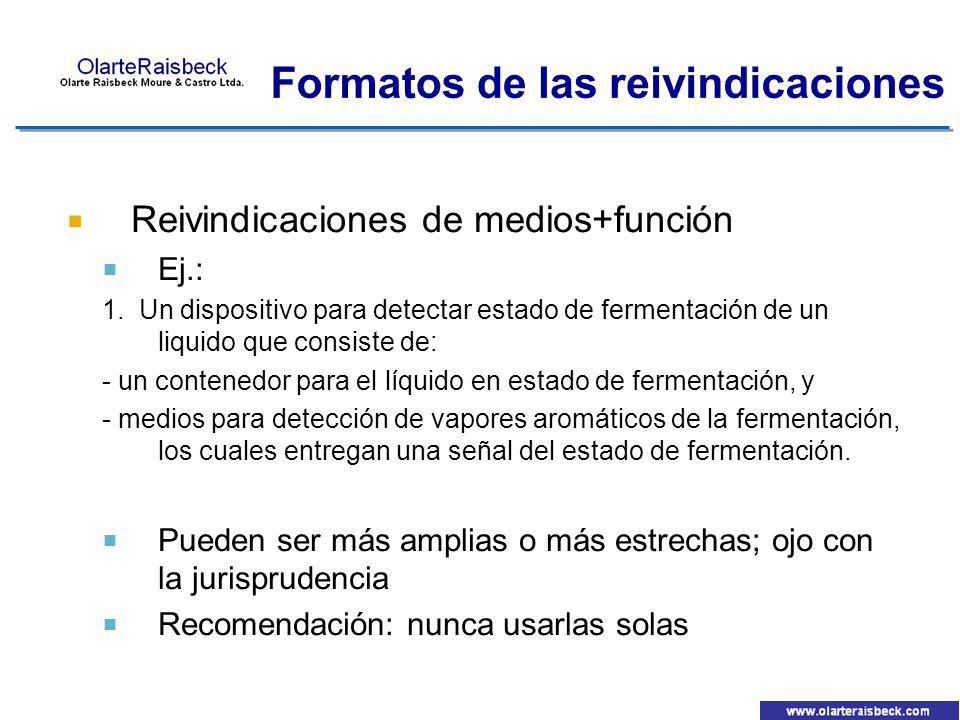 Reivindicaciones de medios+función Ej.: 1. Un dispositivo para detectar estado de fermentación de un liquido que consiste de: - un contenedor para el