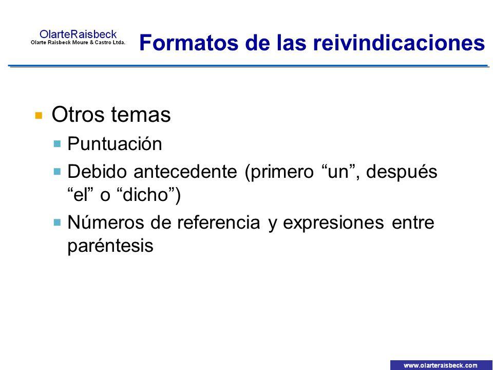 Otros temas Puntuación Debido antecedente (primero un, después el o dicho) Números de referencia y expresiones entre paréntesis