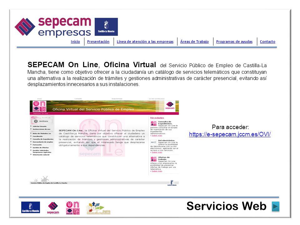 SEPECAM On Line, Oficina Virtual del Servicio Público de Empleo de Castilla-La Mancha, tiene como objetivo ofrecer a la ciudadanía un catálogo de serv