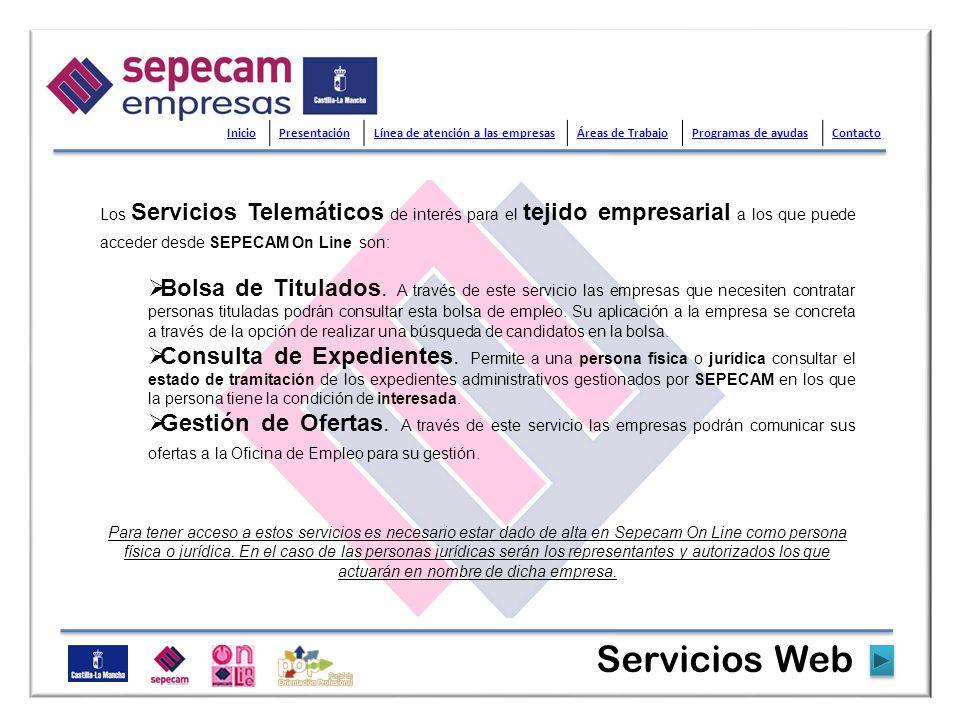 Los Servicios Telemáticos de interés para el tejido empresarial a los que puede acceder desde SEPECAM On Line son: Bolsa de Titulados. A través de est