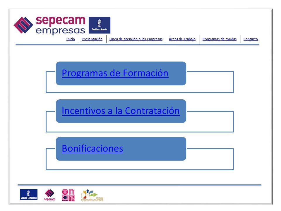 Programas de FormaciónIncentivos a la ContrataciónBonificaciones InicioPresentaciónLínea de atención a las empresasÁreas de TrabajoProgramas de ayudas