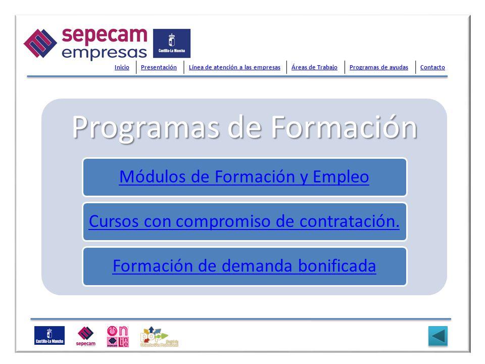 Programas de Formación Módulos de Formación y EmpleoCursos con compromiso de contratación.Formación de demanda bonificada InicioPresentaciónLínea de a