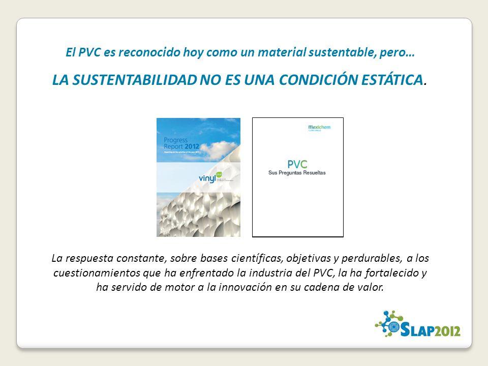El PVC es reconocido hoy como un material sustentable, pero… LA SUSTENTABILIDAD NO ES UNA CONDICIÓN ESTÁTICA.