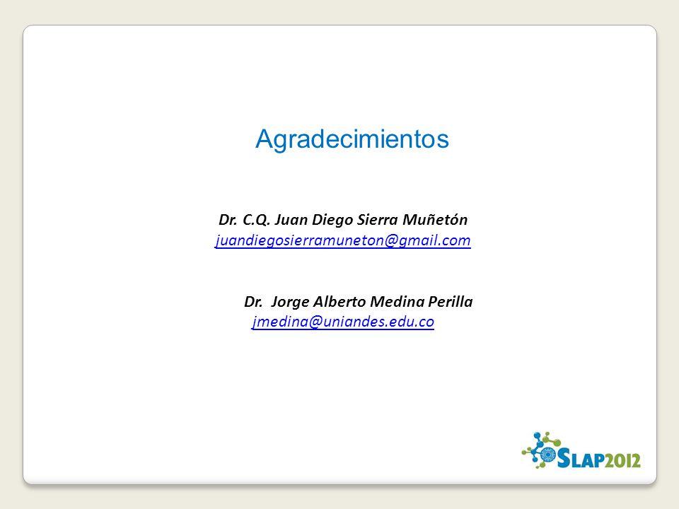 Dr. C.Q. Juan Diego Sierra Muñetón juandiegosierramuneton@gmail.com Dr. Jorge Alberto Medina Perilla jmedina@uniandes.edu.co Agradecimientos