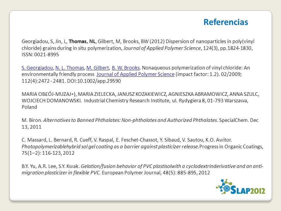 Georgiadou, S, Jin, L, Thomas, NL, Gilbert, M, Brooks, BW (2012) Dispersion of nanoparticles in poly(vinyl chloride) grains during in situ polymerizat