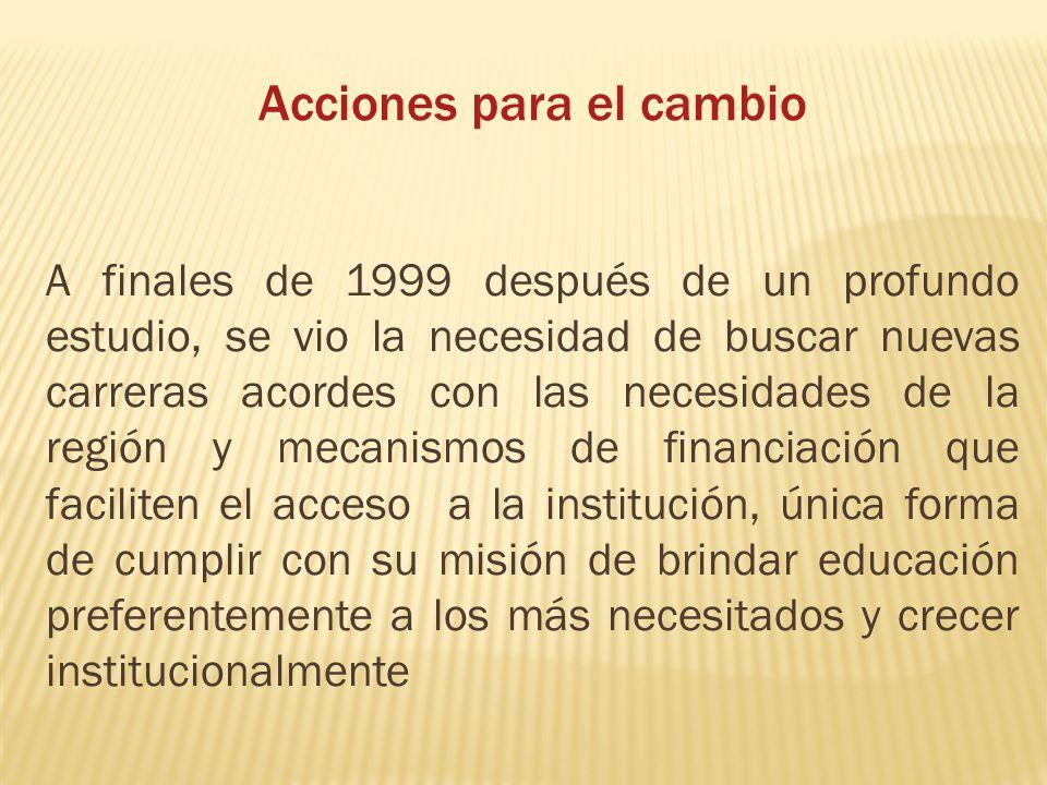 Acciones para el cambio A finales de 1999 después de un profundo estudio, se vio la necesidad de buscar nuevas carreras acordes con las necesidades de