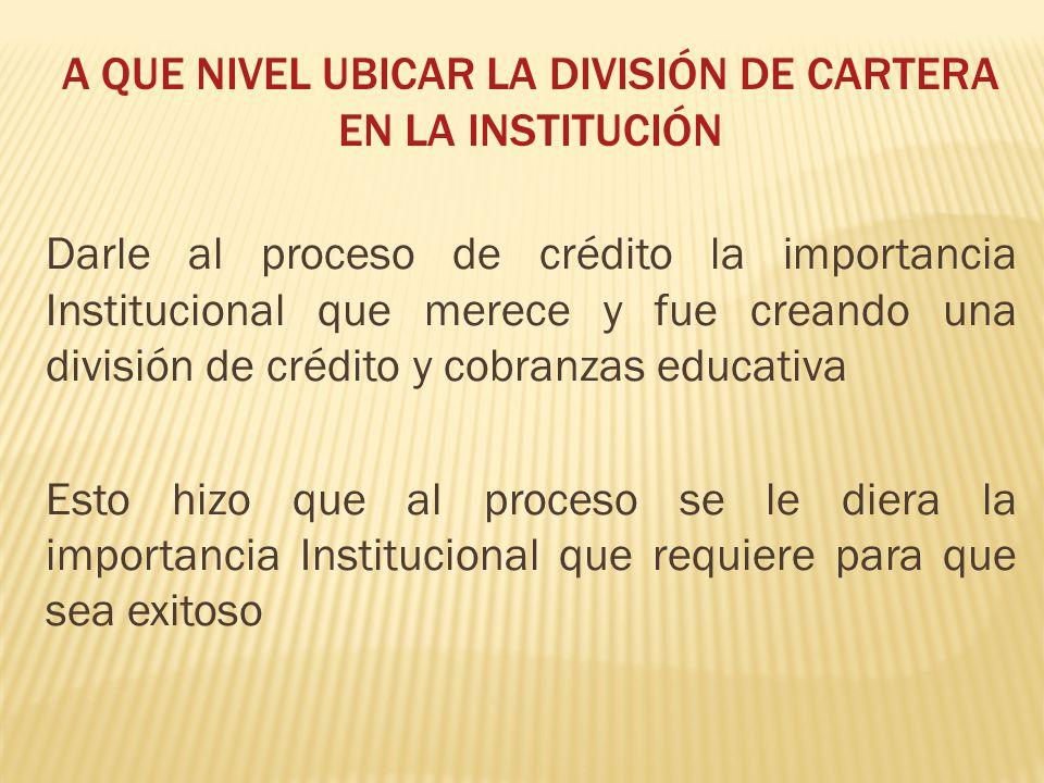 A QUE NIVEL UBICAR LA DIVISIÓN DE CARTERA EN LA INSTITUCIÓN Darle al proceso de crédito la importancia Institucional que merece y fue creando una divi