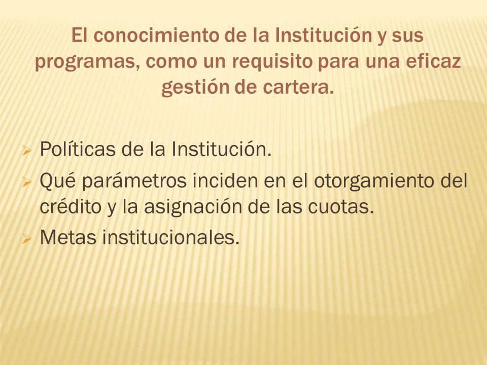 El conocimiento de la Institución y sus programas, como un requisito para una eficaz gestión de cartera. Políticas de la Institución. Qué parámetros i