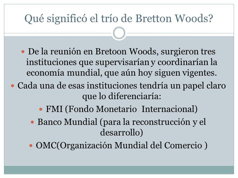 Qué significó el trío de Bretton Woods.