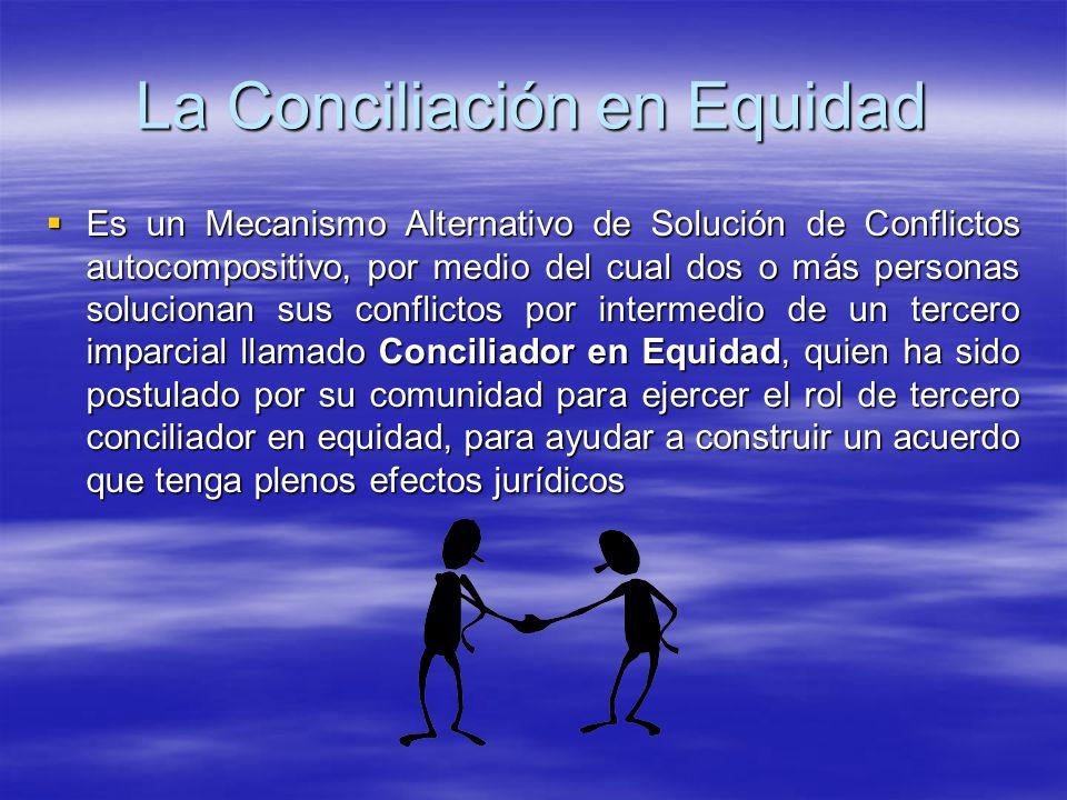 CONCILIACION EN EQUIDAD Cada vez se hace más necesaria la utilización de los MASC y en especial la Conciliación en Equidad, figura que involucra a tod